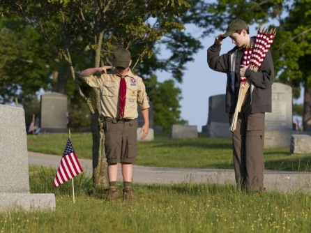 Scout at gravesite