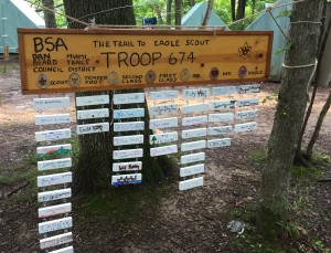 Advancement Board at Camp Friedlander