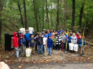 Pack 105 celebrating their successful service project.
