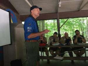 John in his Swedish scout uniform, teaching at Fall 2015 Wood Badge.