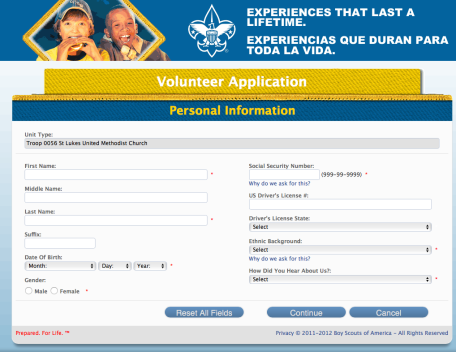 Online Volunteer application