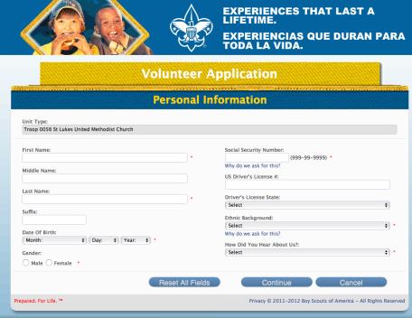 Online Volunteer application